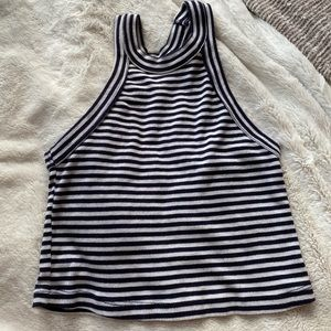 UO navy and white striped halter top